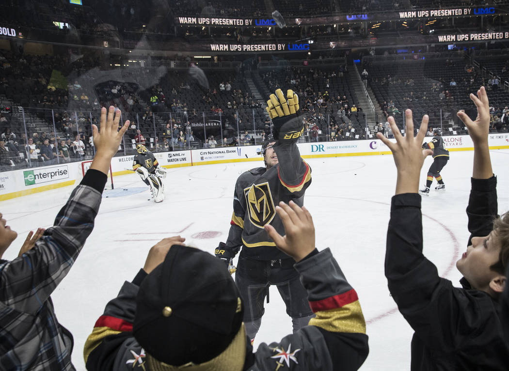 e3bdcde49 T-Mobile Arena s ice surface suited Golden Knights  players just ...