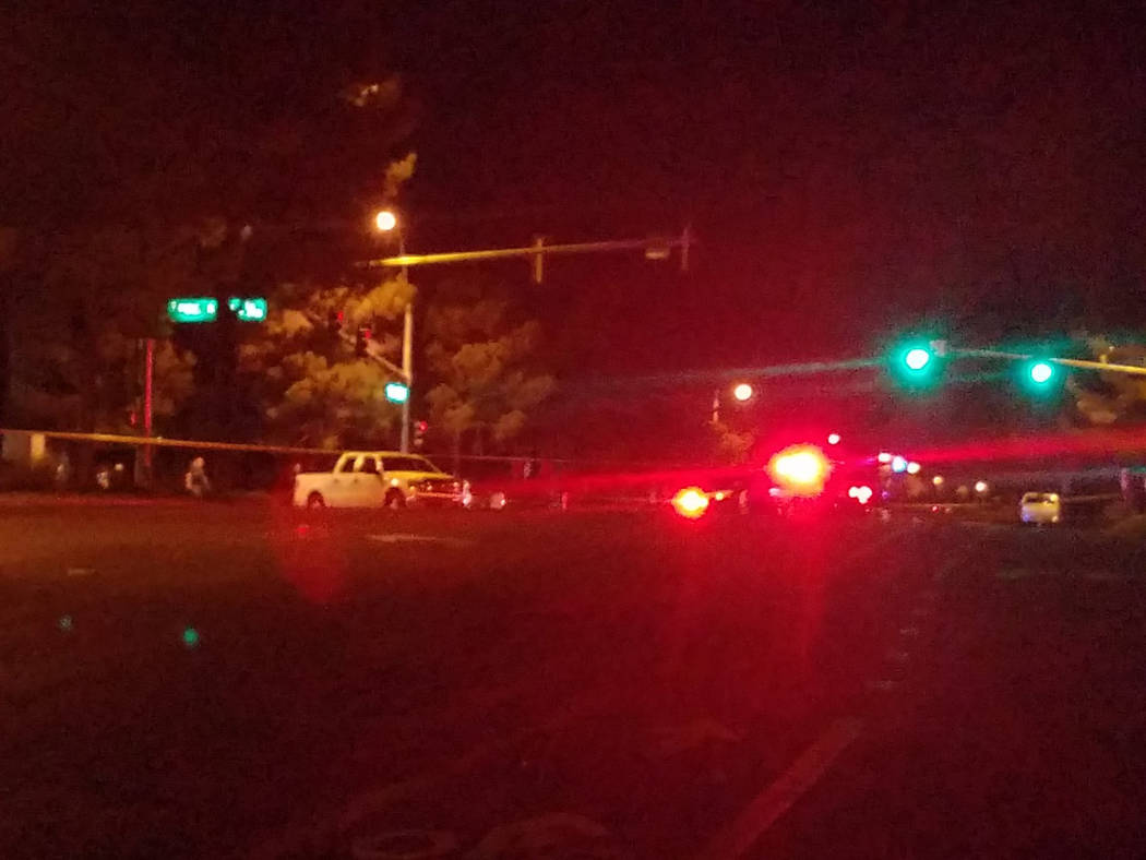 Police investigate a deadly crash at the intersection of Fort Apache Road and Lake South Road, where two pedestrians were hit on Tuesday, Sept. 26, 2017. (Mike Shoro/Las Vegas Review-Journal)