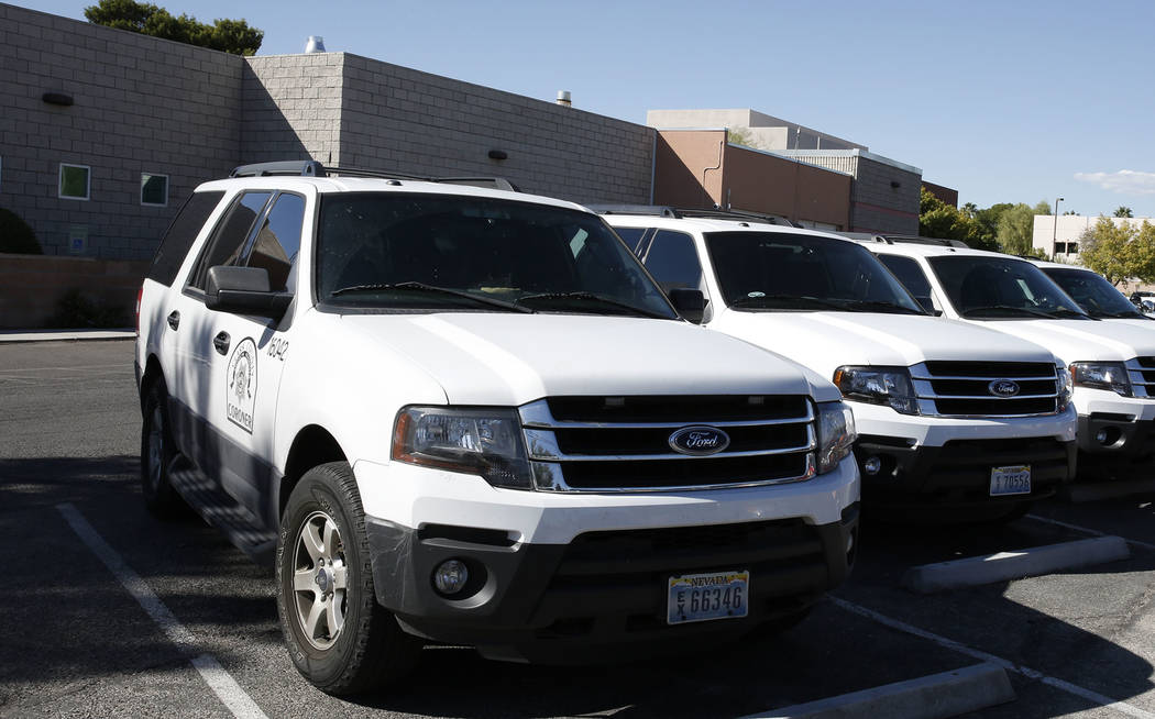 The Clark County Coroner and Medical Examiner vehicles parked at headquarters at 1704 Pinto Lane in Las Vegas on Thursday, Sept. 28, 2017. Bizuayehu Tesfaye Las Vegas Review-Journal @bizutesfaye