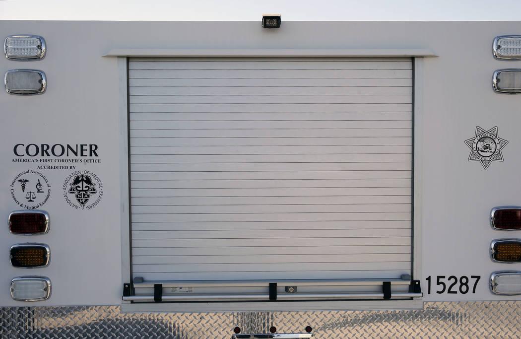 A Clark County Coroner and Medical Examiner vehicle parked at headquarters at 1704 Pinto Lane in Las Vegas on Thursday, Sept. 28, 2017. Bizuayehu Tesfaye Las Vegas Review-Journal @bizutesfaye