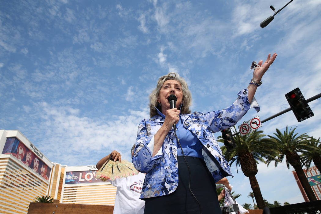 U.S. Rep. Dina Titus, D-Nev., rallies the crowd during a Fight for $15 rally and march outside of the McDonald's near Harrah's on the Las Vegas Strip, Monday, Sept. 4, 2017. (Erik Verduzco/Las ...