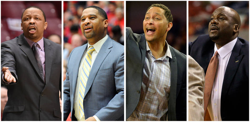 A combination photo shows NCAA coaches L-R, Lamont Evans, Emanuel Richardson, Tony Bland and Chuck Person in these USA Today Sports file photos.  REUTERS/USA TODAY Sports/File Photos