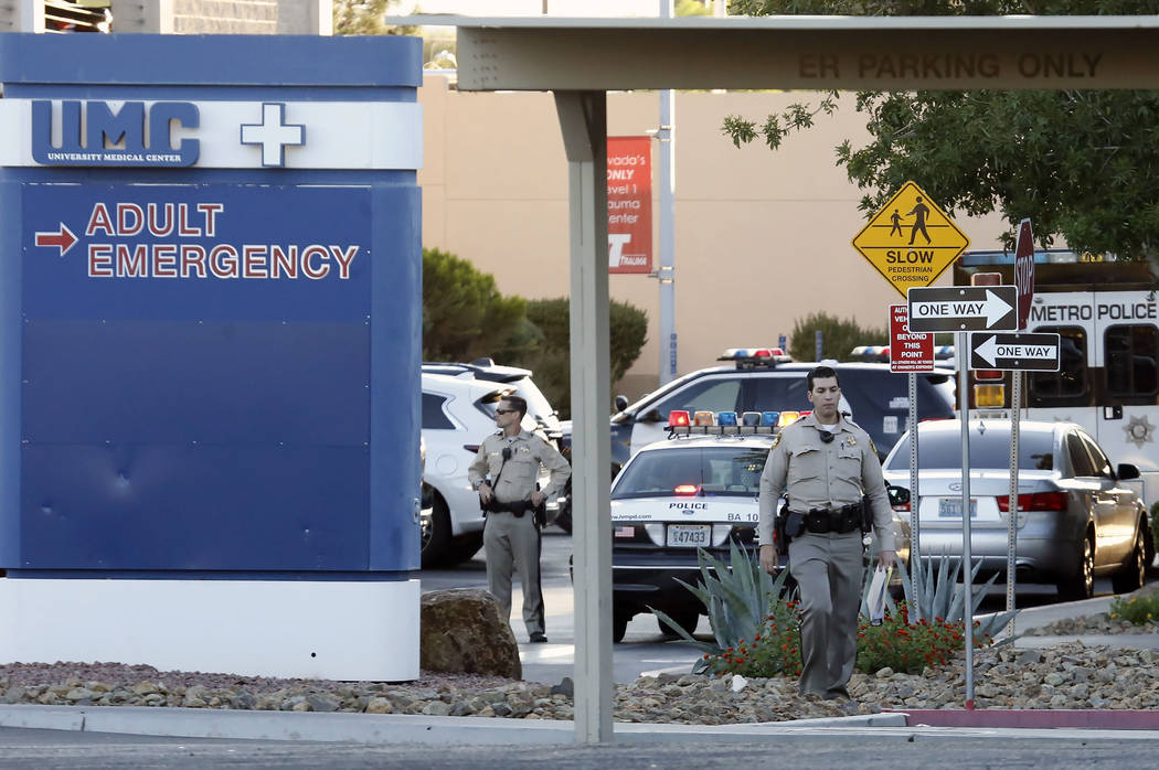 Las Vegas police investigate after a man died in an officer-involved shooting at University Medical Center on Monday, Sept. 25, 2017. Bizuayehu Tesfaye Las Vegas Review-Journal @bizutesfaye