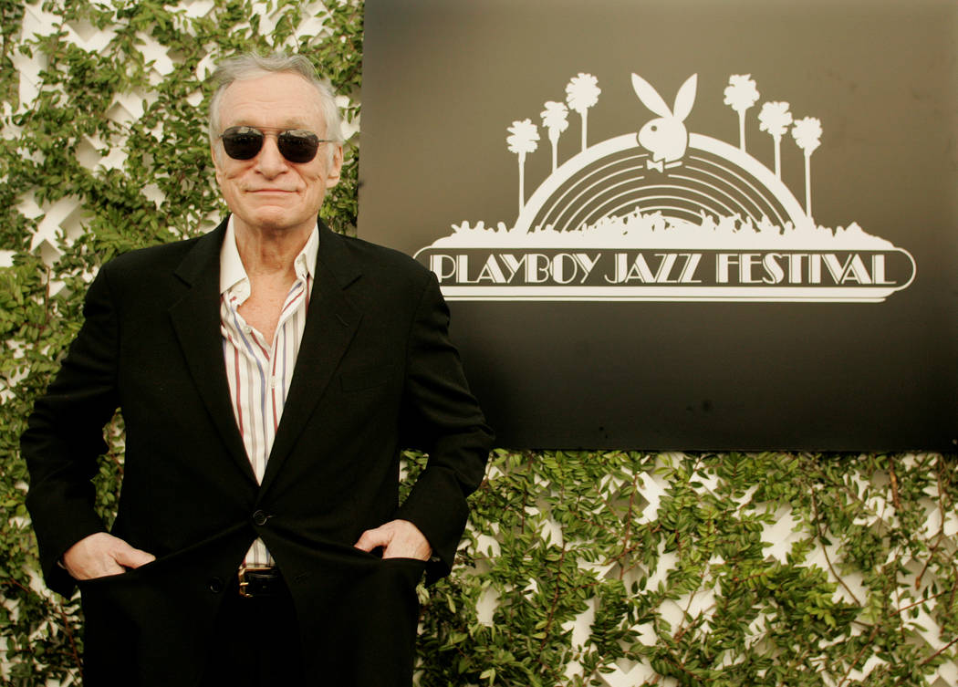 FILE PHOTO -  Hugh Hefner, 81, founder of Playboy magazine and the Playboy Jazz Festival, poses at a news conference which was held to announce the artists performing at the 30th Playboy Jazz Fest ...