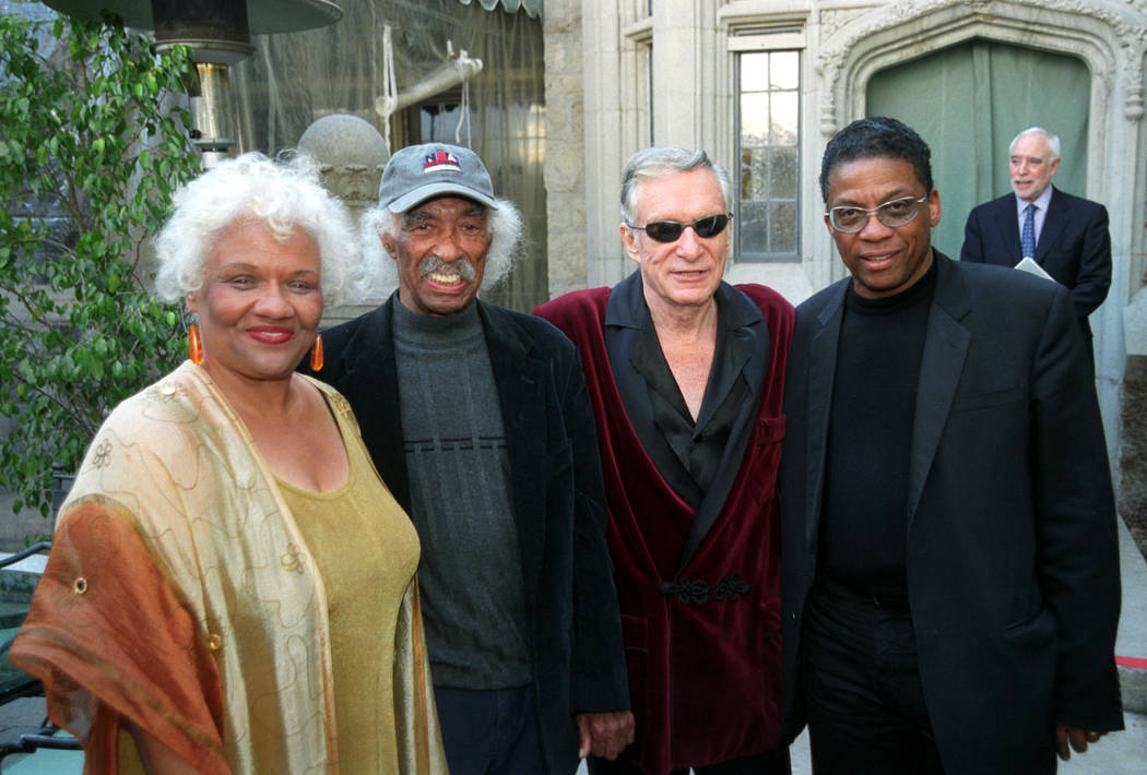 From left, Barbara Morrison, Gerald Wilson, Hugh Hefner and Herbie Hancock pose for a photo during a news conference for the Playboy Jazz Festival March 3, 2004, at the Playboy Mansion in Los Ange ...
