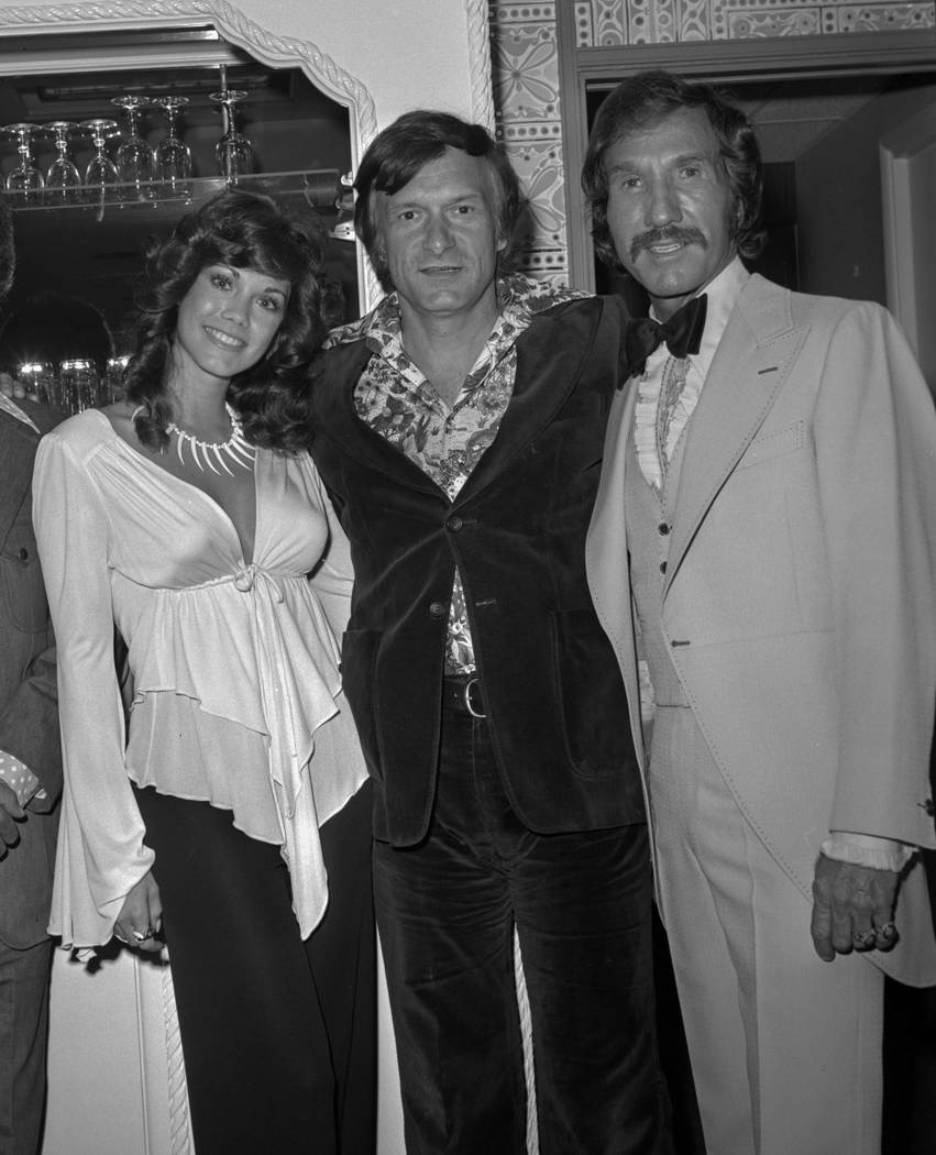 Barbi Benton, Hugh Hefner and Marty Robbins are seen May 15, 1975, in Las Vegas on the opening night of Robbins' run at the Sahara. CREDIT: Las Vegas News Bureau