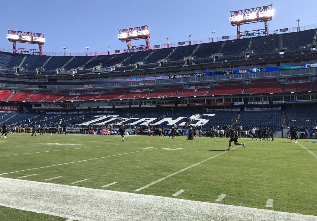 Players warm up on the field at Nissan Stadium prior to the Tennessee Titans game vs. the Oakland Raiders in Nashville, Tenn., Sunday, Sept. 10, 2017. Heidi Fang Las Vegas Review-Journal @HeidiFang