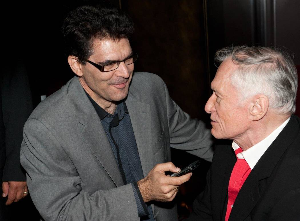 John Katsilometes is shown interviewing Hugh Hefner at the Playboy Club at the Palms during Hefner's birthday celebration on April 9, 2011. (Tom Donoghue)