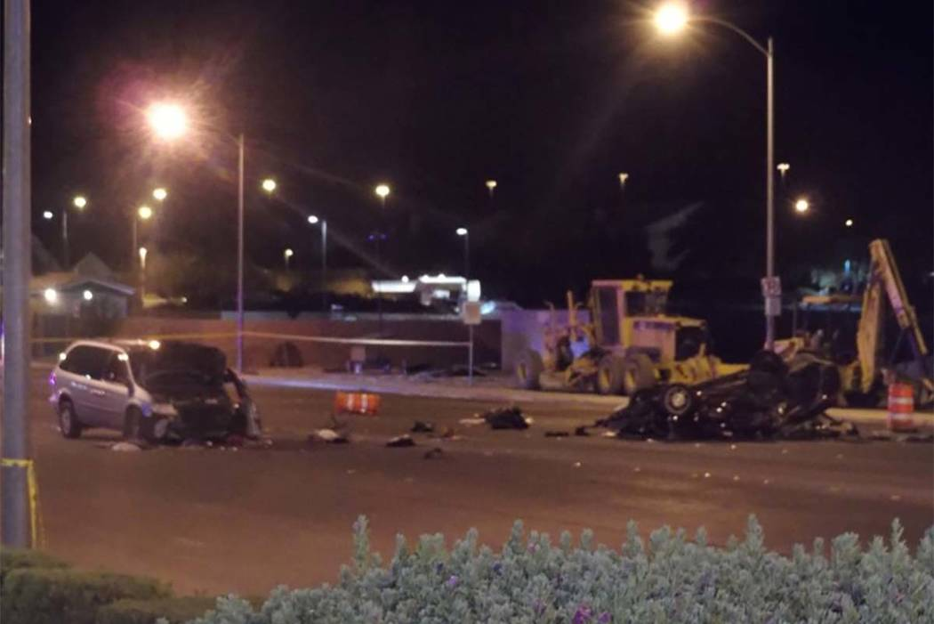 One person died in a rollover crash Wednesday night near Eastern Avenue and Pebble Road. (Max MIchor/Las Vegas Review-Journal)