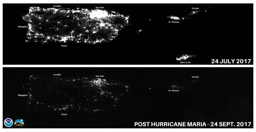 This combination of photos released by National Oceanic and Atmospheric Administration (NOAA) shows Puerto Rico at night on July 24, 2017, top, before the passing of Hurricane Maria, and on Sept.  ...