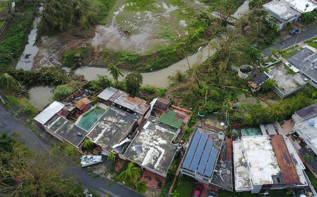 An aerial photo shows damage caused by Hurricane Maria in San Juan, Puerto Rico, Sept. 27, 2017. (DroneBase/Reuters)