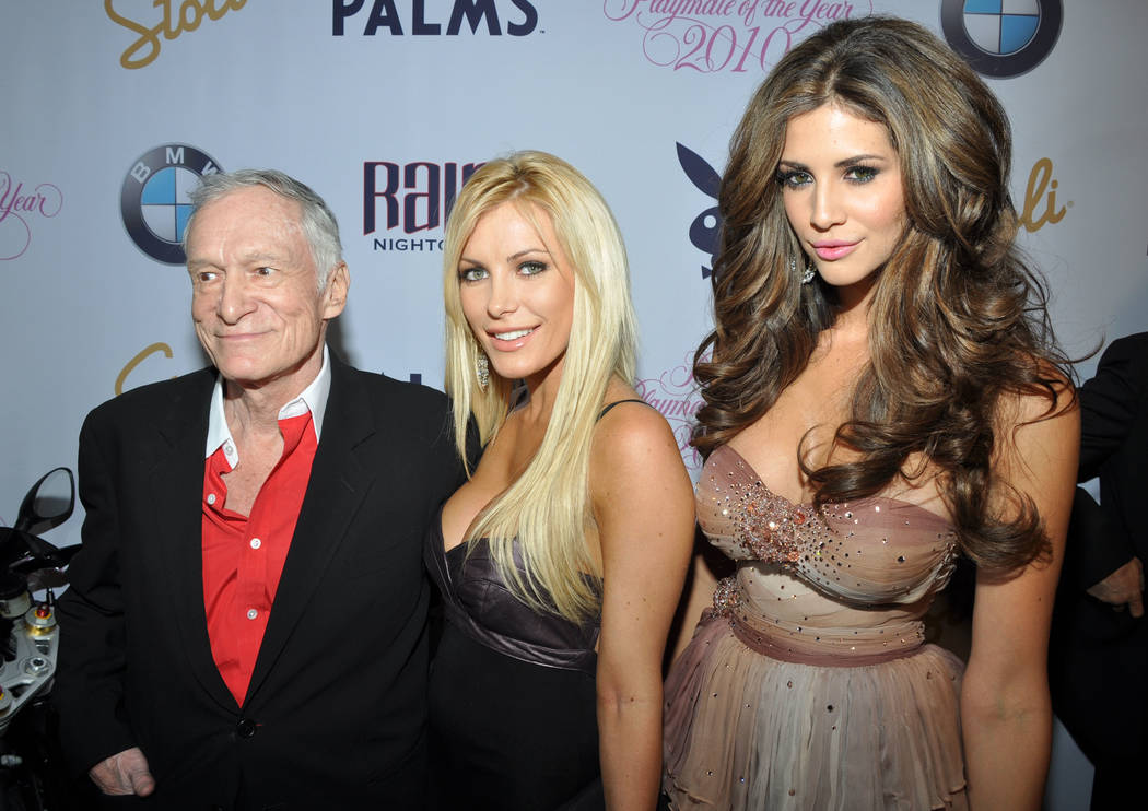 Hugh Hefner, Dasha Astafieva and Hope Dworaczyk, right, arrive at Playboy magazine's 2010 Playmate of the Year announcement and celebration at the Palms Casino Resort in Las Vegas on Saturday, May ...