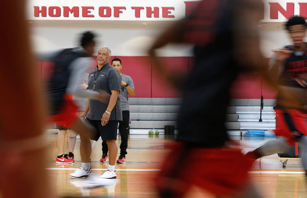 UNLV men's basketball head coach Marvin Menzies watches his players during their practice at the Mendenhall Center in Las Vegas, Saturday, Sept. 30, 2017. Chitose Suzuki Las Vegas Review-Journal @ ...