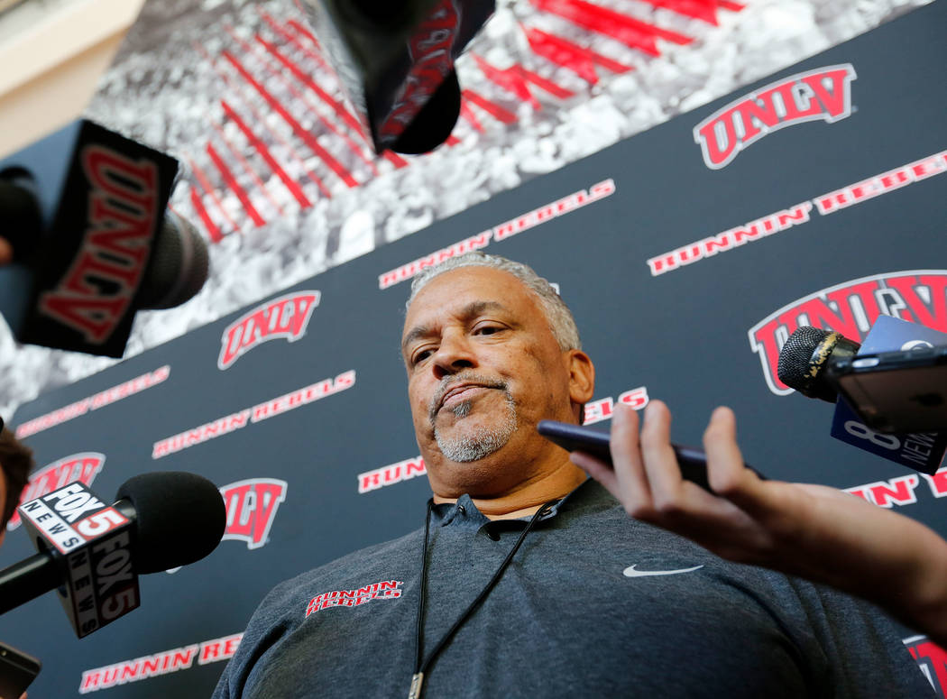 UNLV men's basketball head coach Marvin Menzies speaks to reporters prior to their practice at the Mendenhall Center in Las Vegas, Saturday, Sept. 30, 2017. Chitose Suzuki Las Vegas Review-Journal ...