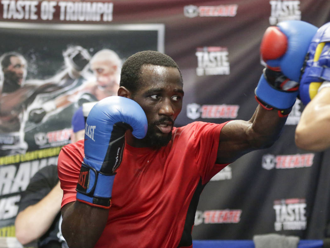 "Terence ""Bud"" Crawford spars during a workout in Omaha, Neb., Wednesday, Aug. 16, 2017. Undefeated 140 pound world champions Terence ""Bud"" Crawford and Julius I ..."