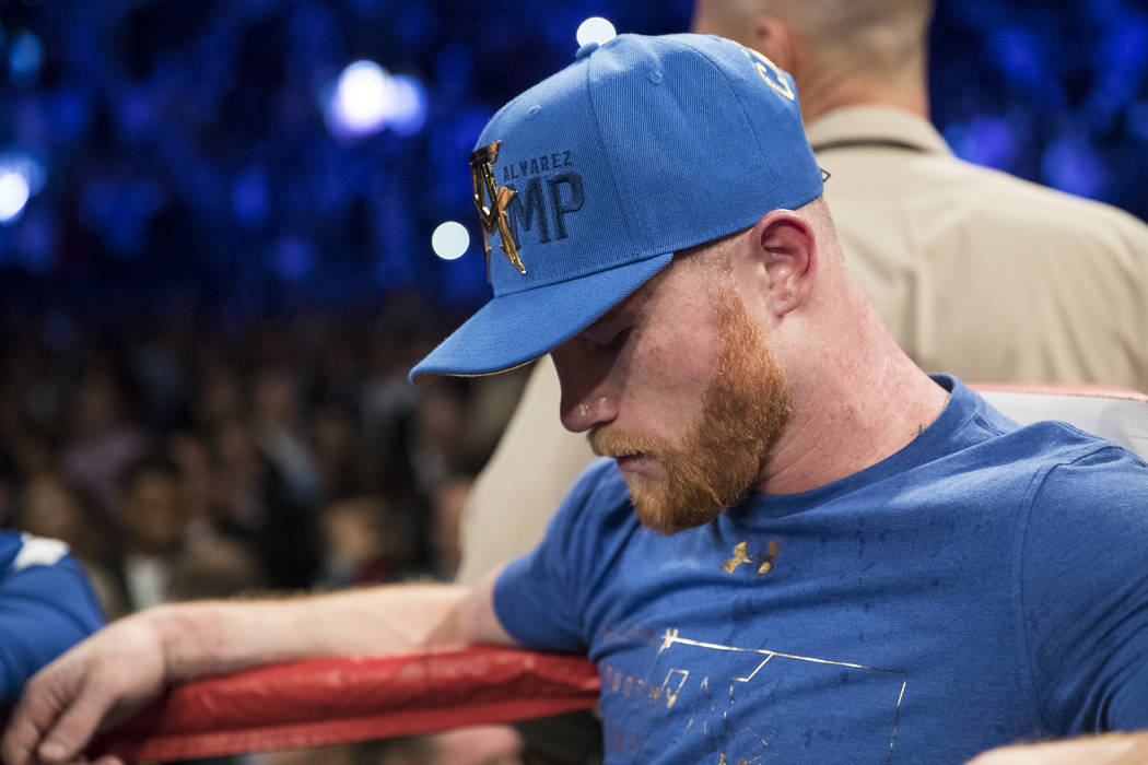 Saul Canelo Alvarez reacts after his fight against Gennady GGG Golovkin in the WBC, WBA, IBF, RING middleweight title bout was called a draw at T-Mobile Arena in Las Vegas, Saturday, Sept. 16, 201 ...