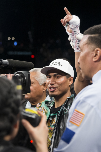 Mikey Garcia celebrates his win against Dejan Zlaticanin in the third round of the WBC Lightweight World Championship bout at MGM Grand Garden Arena on Saturday, Jan. 28, 2017, in Las Vegas. (Erik ...