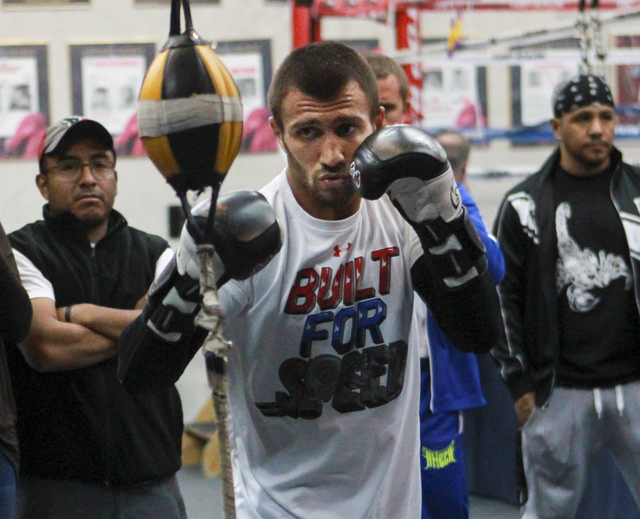 Vasyl Lomachenko works out at Top Rank Gym in Las Vegas on Tuesday, Nov. 22, 2016. Miranda Alam/Las Vegas Review-Journal Follow @miranda_alam