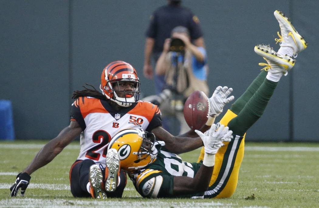 Cincinnati Bengals' Adam Jones is called for passs interference on this pass intended for Green Bay Packers' Geronimo Allison during the second half of an NFL football game Sunday, Sept. 24, 2017, ...