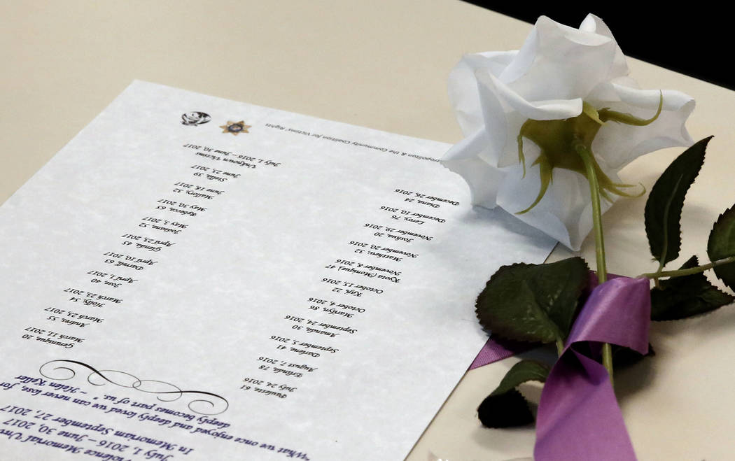 A rose is placed next to a list of names of domestic violence victims at the Metropolitan Police Department headquarters in Las Vegas on Wednesday, Sept. 27, 2017, during the annual ceremony to re ...