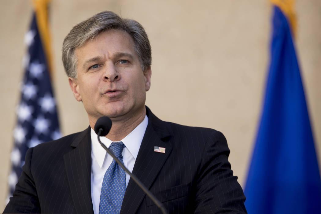 FBI Director Chris Wray speaks at his installation ceremony at the FBI Building, Thursday, Sept. 28, 2017, in Washington. (Andrew Harnik/AP)