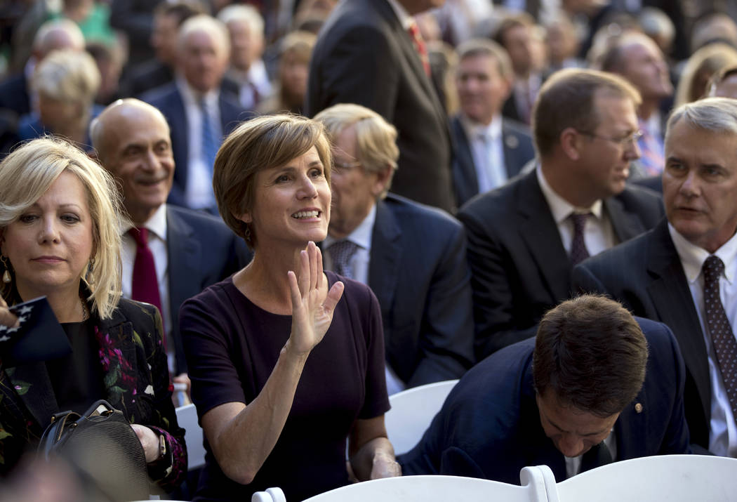 Former U.S. Deputy Attorney General Sally Yates arrives for a ceremony for FBI Director Chris Wray at the FBI Building, Thursday, Sept. 28, 2017, in Washington. Wray was formally installed as the  ...