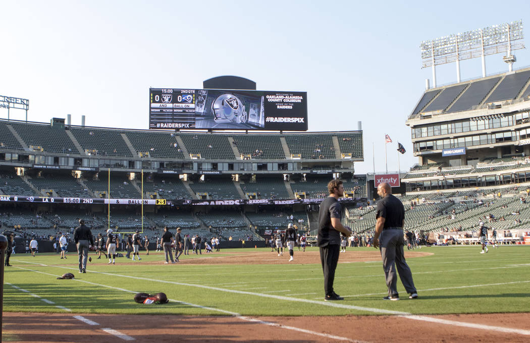 A look at the Oakland Raiders stadium ahead of the team's NFL preseason football game against the Los Angeles Rams in Oakland, Calif., Saturday, Aug. 19, 2017. Heidi Fang Las Vegas Review-Journal  ...