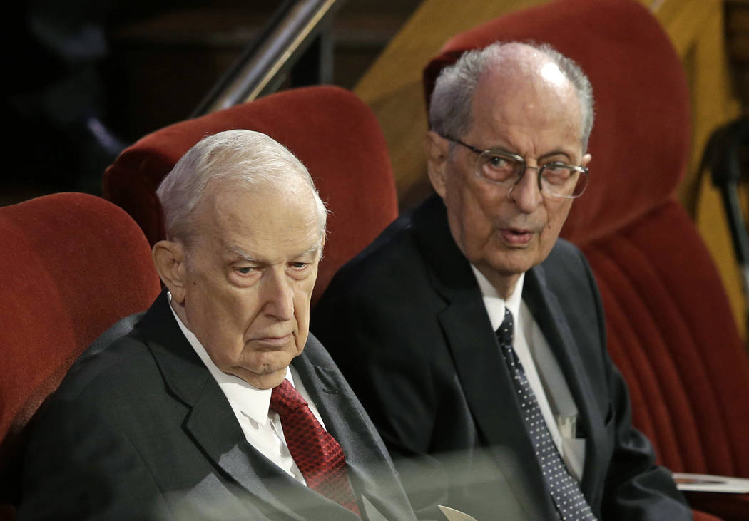Richard G. Scott, left, and Robert D. Hales, right, attending the memorial service for Mormon leader Boyd K. Packer at the Tabernacle on Temple Square in Salt Lake City on July 10, 2015. (Rick Bow ...