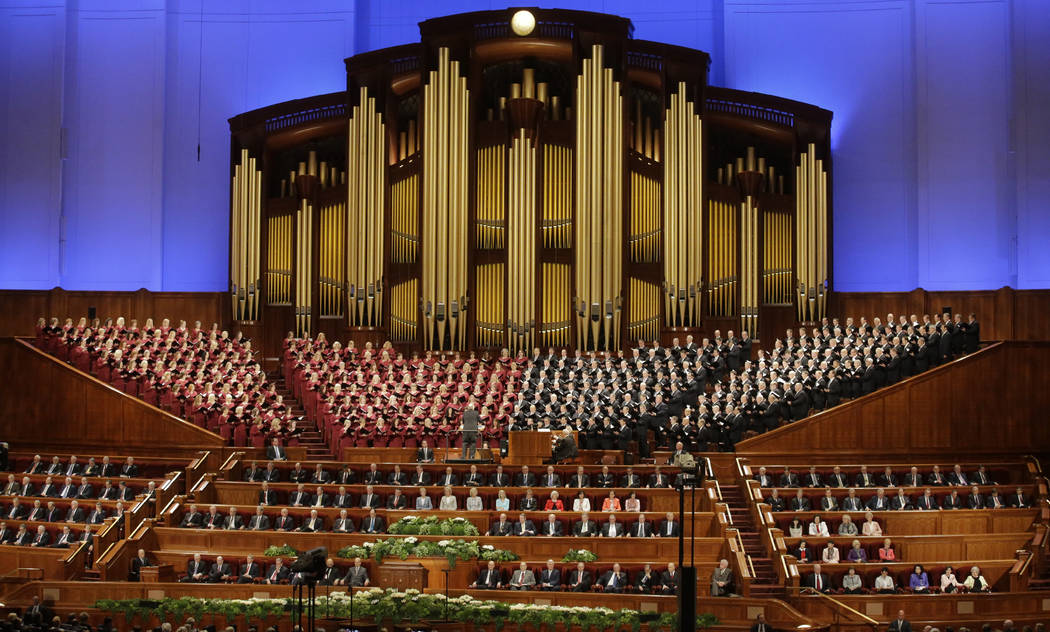 The Mormon Tabernacle Choir of The Church of Jesus Christ of Latter-day Saints perform in the Conference Center at the morning session of the two-day Mormon church conference in Salt Lake City on  ...