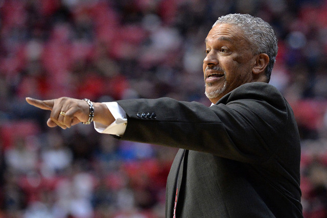 Feb 19, 2017; San Diego, CA, USA; UNLV Rebels head coach Marvin Menzies reacts during the first half against the San Diego State Aztecs at Viejas Arena at Aztec Bowl. Mandatory Credit: Jake Roth-U ...