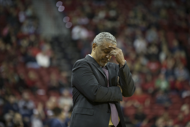 UNLV Rebels head coach Marvin Menzies during his team's basketball game against Nevada Wolf Pack at the Thomas & Mack Center on Saturday, Feb. 25, 2017, in Las Vegas. Nevada Wolf Pack won 94-5 ...