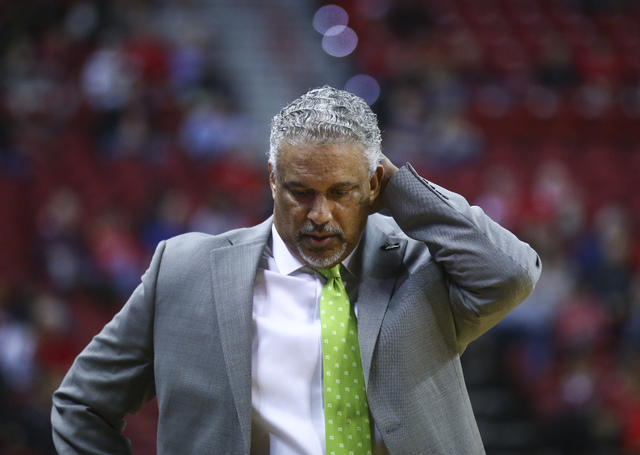 UNLV head coach Marvin Menzies reacts during a basketball game against San Jose State at the Thomas & Mack Center in Las Vegas on Saturday, Feb. 11, 2017. San Jose State won won 76-74. (Chase  ...