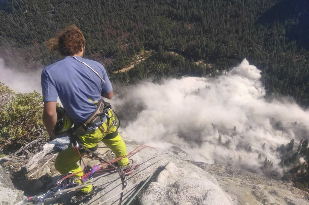 Climber Ryan Sheridan who had just reached the top of El Capitan, a 7,569-foot formation, when a rock slide let loose below him Thursday, Sept. 28, 2017, in Yosemite National Park, Calif. (Peter Z ...