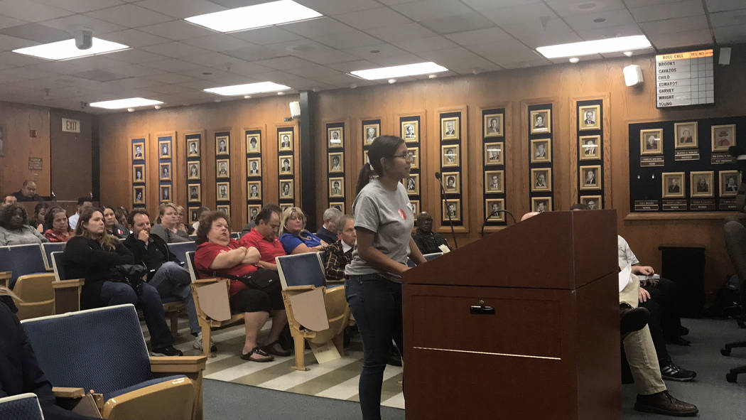 Burk Horizon High School student Jacquelin Najera asks the School Board, Thursday, Sept. 28, 2017, in Las Vegas to keep the Burk day program open until May, so students in the at-risk program can  ...