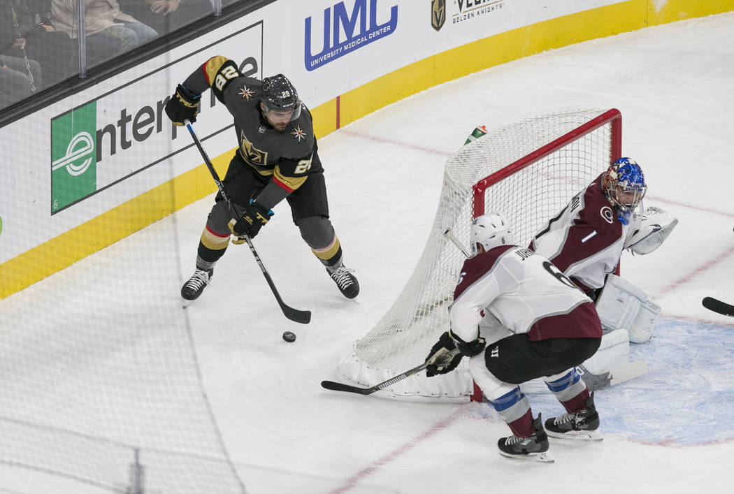 Vegas Golden Knights left wing William Carrier (28) looks for a shot from behind the net during the first period of a preseason NHL hockey game between the Vegas Golden Knights and the Colorado Av ...