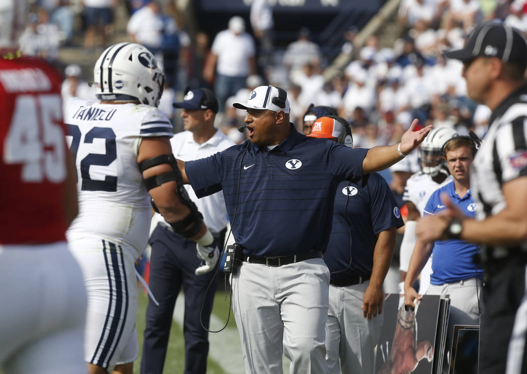 BYU head coach Kalani Sitake reacts to a call by the referee in the second half during an NCAA college football game against Wisconsin, Saturday, Sept. 16, 2017, in Provo, Utah. (AP Photo/Kim Raff)
