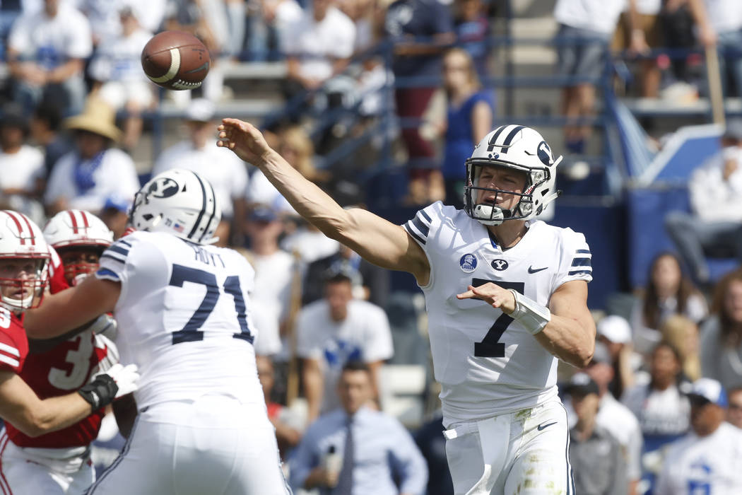 BYU quarterback Beau Hoge (7) throws a pass in the first half during an NCAA college football game against Wisconsin, Saturday, Sept. 16, 2017, in Provo, Utah. (AP Photo/Kim Raff)
