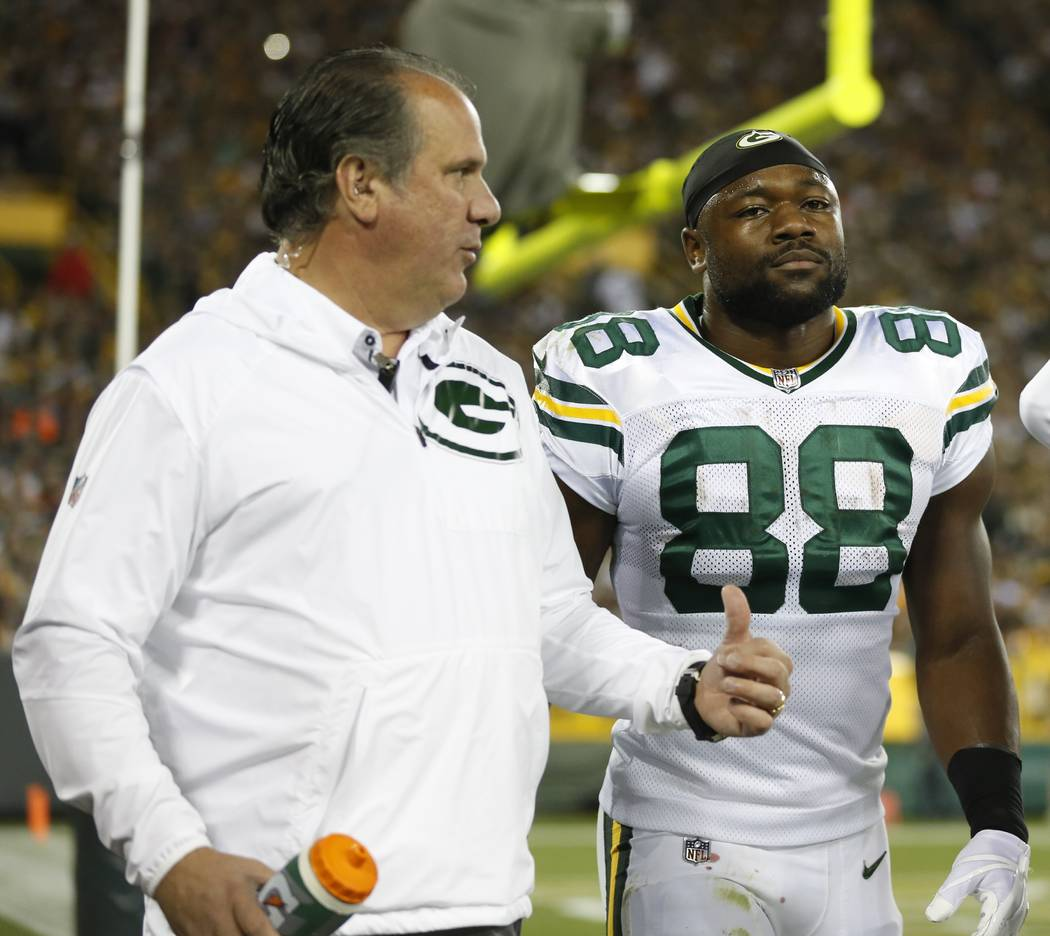 Green Bay Packers' Ty Montgomery walks to the locker room after an injury during the first half of an NFL football game against the Chicago Bears Thursday, Sept. 28, 2017, in Green Bay, Wis. (AP P ...