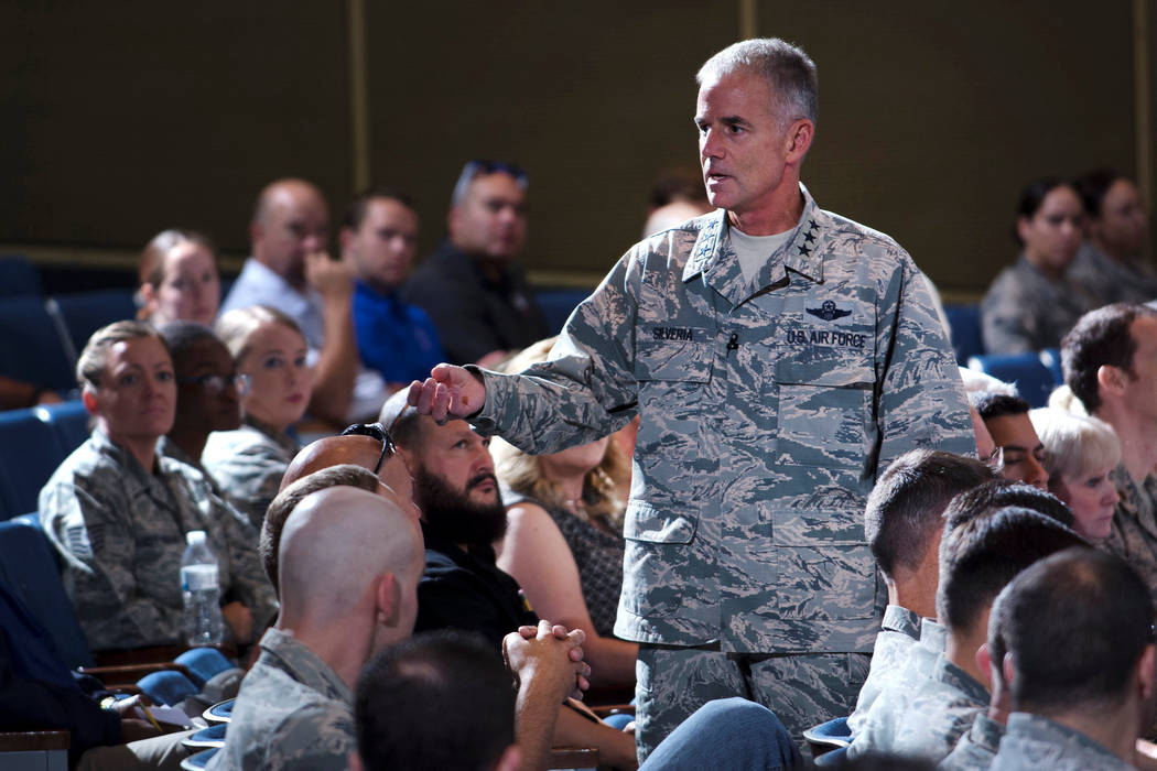 Lt. Gen. Jay Silveria, superintendent of the U.S. Air Force Academy, discusses his goals and priorities to an audience of Total Force Airmen at the United States Air Force Academy in Colorado, U.S ...