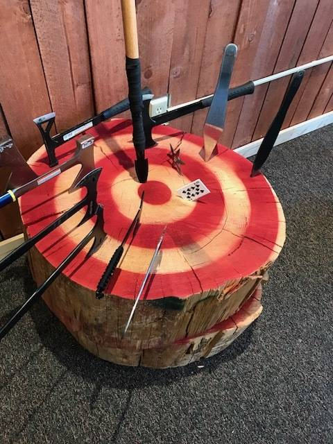 The Axehole axe-throwing range opened earlier this month on Fremont Street. It is the second axe-throwing range to open in the Las Vegas Valley this year. (Axehole)