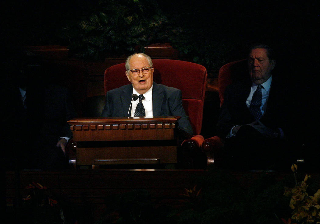 Mormon Elder Robert D. Hales speaks at the 181st Semiannual General Conference in Salt Lake City in 2011.  (Scott Sommerdorf/The Salt Lake Tribune via AP, file)