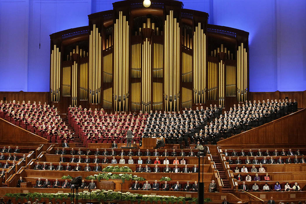 The Mormon Tabernacle Choir of The Church of Jesus Christ of Latter-day Saints perform in the Conference Center at the morning session of the two-day Mormon church conference in Salt Lake City in  ...