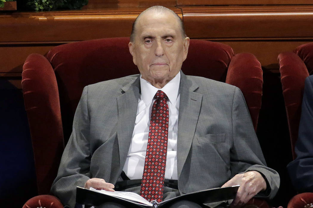 Thomas M. Monson, president of the Church of Jesus Christ of Latter-day Saints, is seen at the two-day Mormon church conference in Salt Lake City in April 2017. (AP Photo/Rick Bowmer, File)
