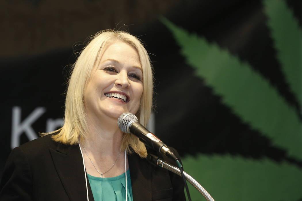 California top state pot regulator Lori Ajax addresses an industry group meeting in Long Beach, Calif., Thursday, Sept. 28, 2017. (AP Photo/Damian Dovarganes)