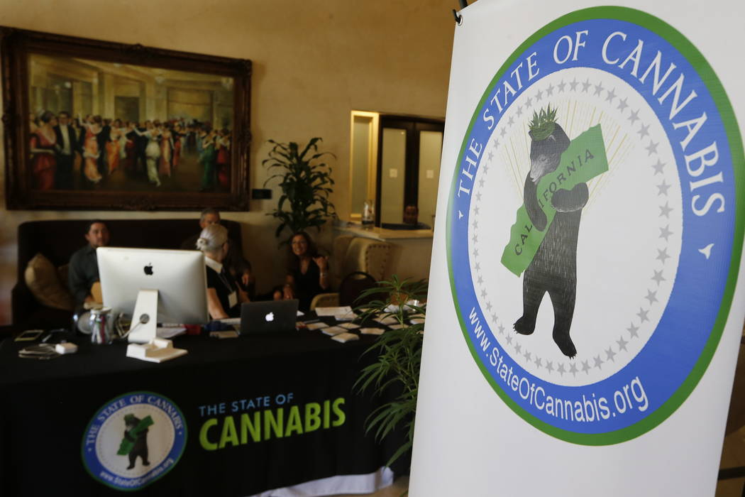 """A banner for """"The State of Cannabis,"""" a California industry group meeting is displayed in a lobby of a hotel in Long Beach, Calif., on Thursday, Sept. 28, 2017.  (AP Photo/Damian Dovarganes)"""