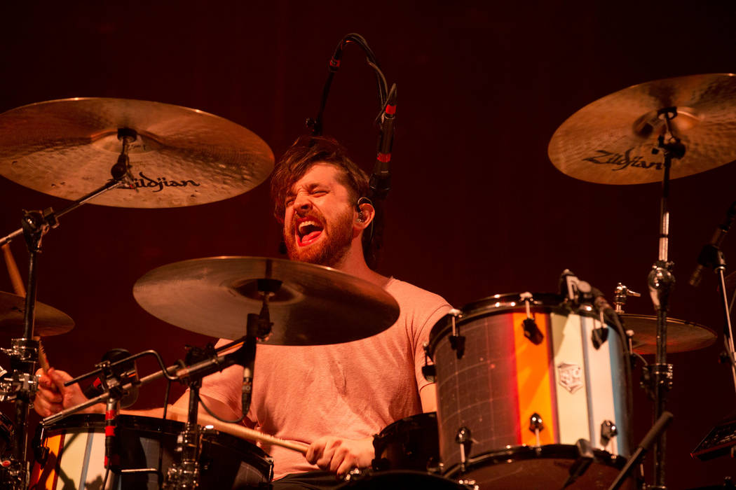 Imagine Dragons drummer Daniel Platzman plays during the band's show at T-Mobile Arena in Las Vegas, Friday, Sept. 29, 2017. The show was in part of their Evolve Tour in support of their third stu ...