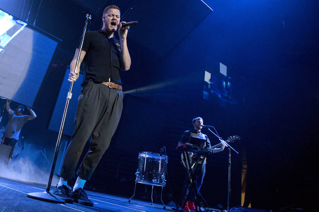 Imagine Dragons vocalist Dan Reynolds sings during the band's show at T-Mobile Arena in Las Vegas, Friday, Sept. 29, 2017. The show was in part of their Evolve Tour in support of their third studi ...