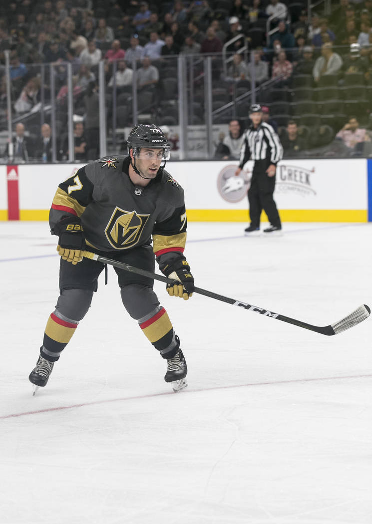 Vegas Golden Knights defenseman Brad Hunt (77) on the ice during the third period of a preseason NHL hockey game between the Vegas Golden Knights and the Colorado Avalanche on Thursday, Sept. 28,  ...