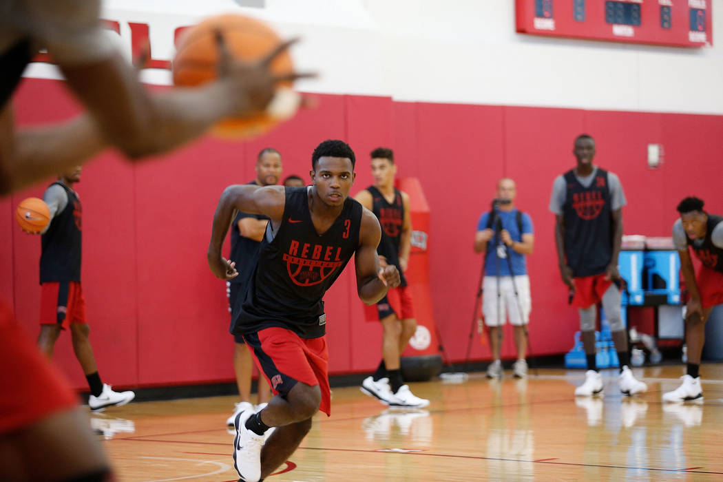 UNLV basketball player Amauri Hardy (3) during their practice at the Mendenhall Center in Las Vegas, Saturday, Sept. 30, 2017. Chitose Suzuki Las Vegas Review-Journal @chitosephoto