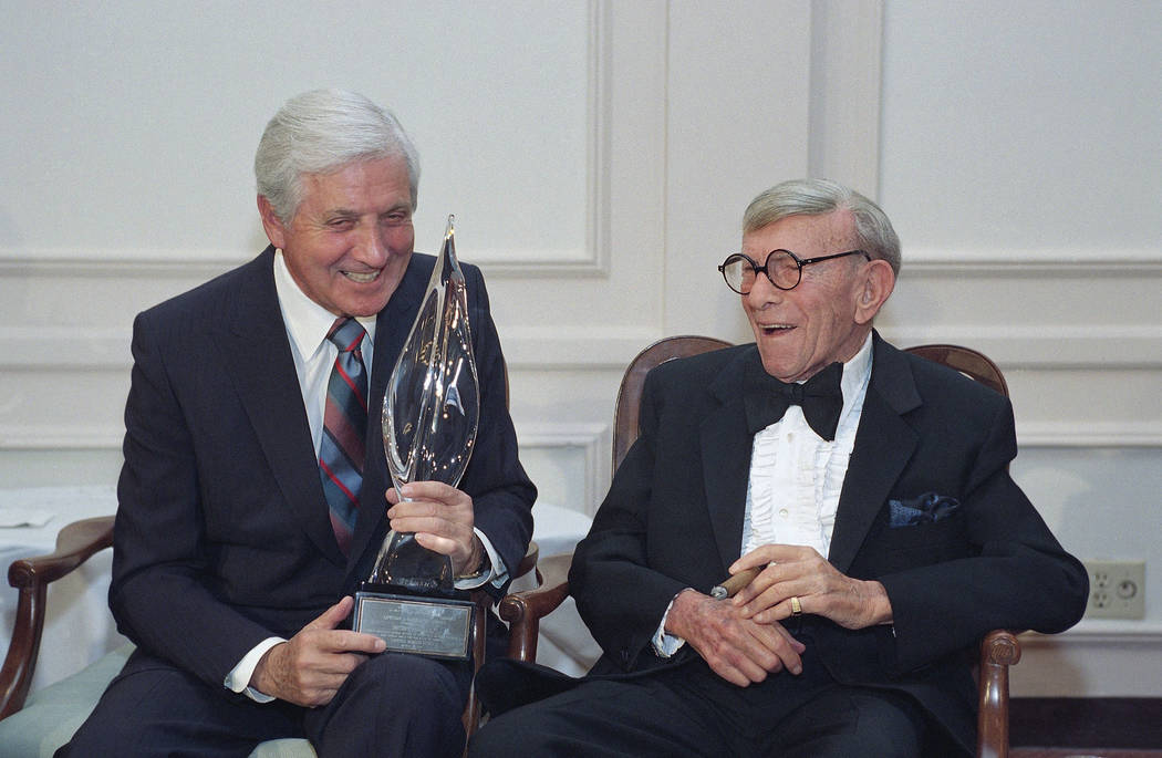 Monty Hall, left, recipient of the 2nd Annual George Burns Lifetime Award, laughs with George Burns at the United Jewish Fund tribute to humanitarian Hall, in the Century City section of Los Angel ...
